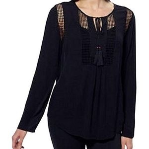 Joseph A. Womens Crinkle Tops With Crochet Detail